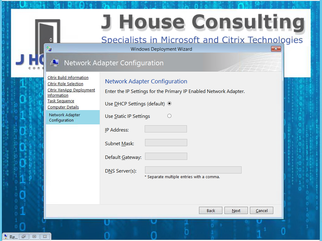 Custom MDT Wizard For Network Settings | J House Consulting